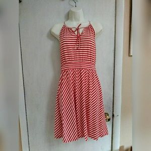Elle red & white striped dress